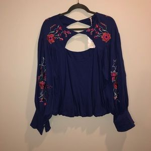 Free People Spring Blue/Purple Floral Blouse NWT